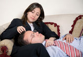 Tired business partners — Stock Photo