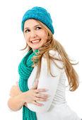 Vintern kvinna porträtt — Stockfoto