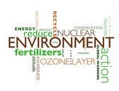 Ilustración con términos como el calentamiento global o el medio ambiente — Foto de Stock