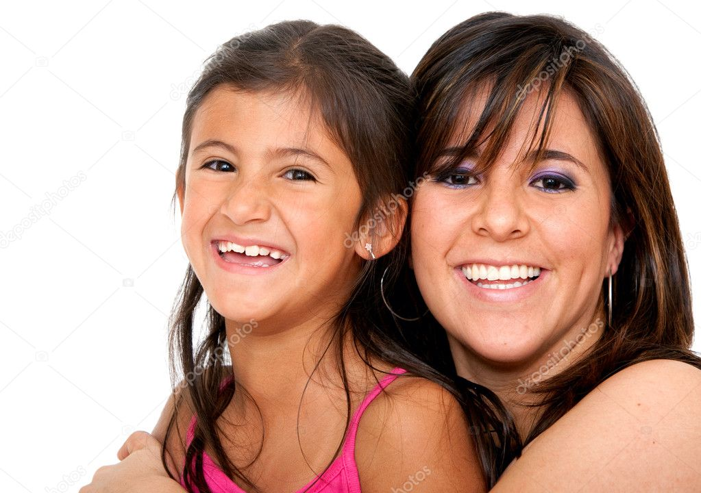 Beautiful portrait of a mother with her daughter isolated over a white background  Stock Photo #7740579
