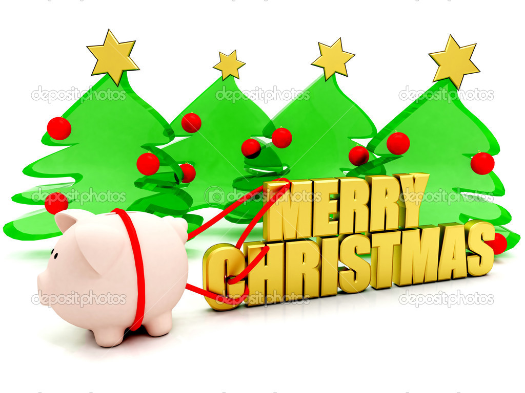 Pig carrying a merry christmas sign with trees behind it - isolated on white — Stock Photo #7740962