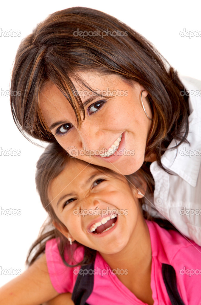 Mother and daughter smiling isolated over a white background — Stock Photo #7741038