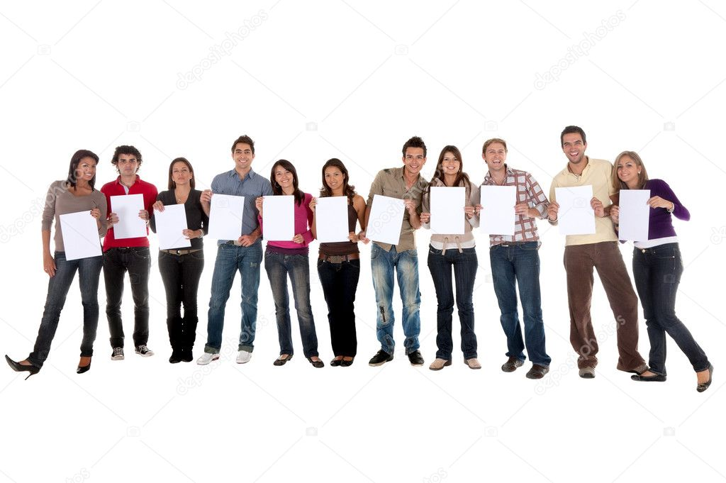 Group of  casual isolated holding white cardboards to fill in — Stock Photo #7741446