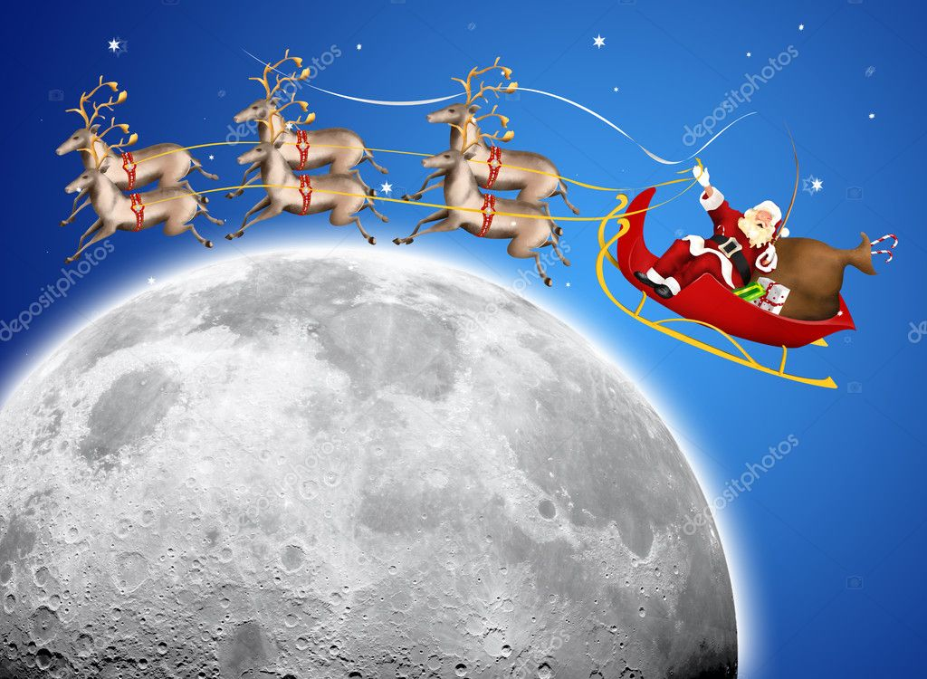 Santa Claus in his deer sled around the moon — Stock Photo #7741480