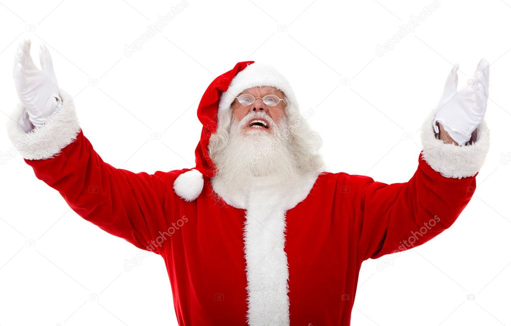 Excited santa with open arms isolated on white — Stock Photo #7741546