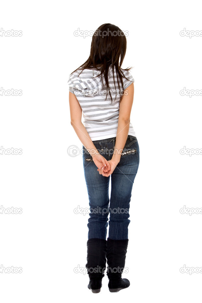 Rear view of a casual woman isolated over a white background — Stock Photo #7741572