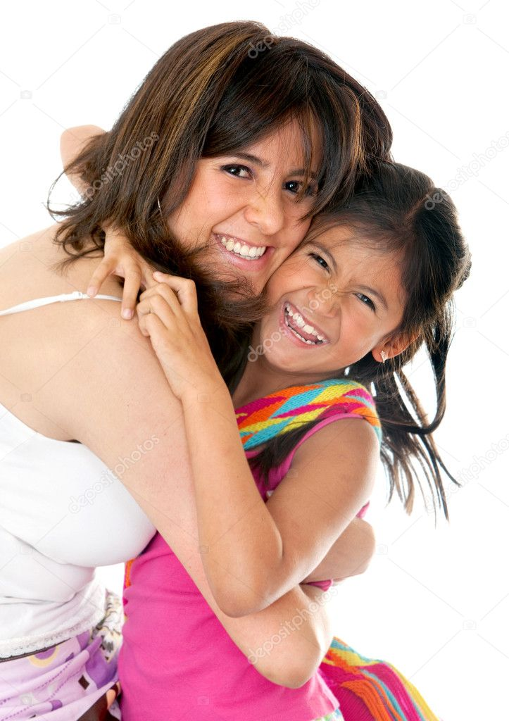 Mother and daughter having fun isolated over a white background  Stock Photo #7742228