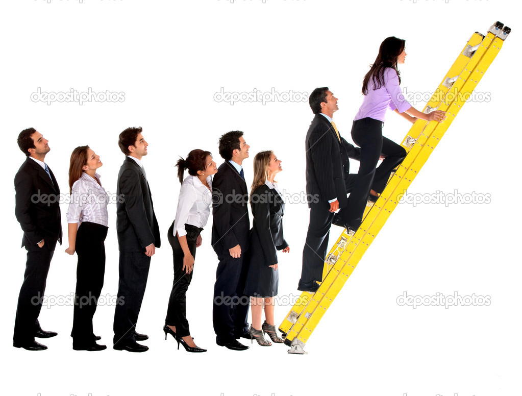 Business group climbing a ladder isolated over a white background — Stock Photo #7742490