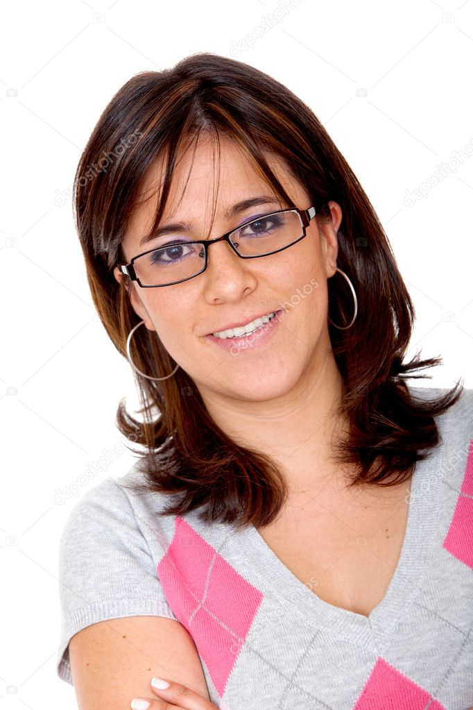 Casual woman smiling isolated over a white background  Stock Photo #7742974
