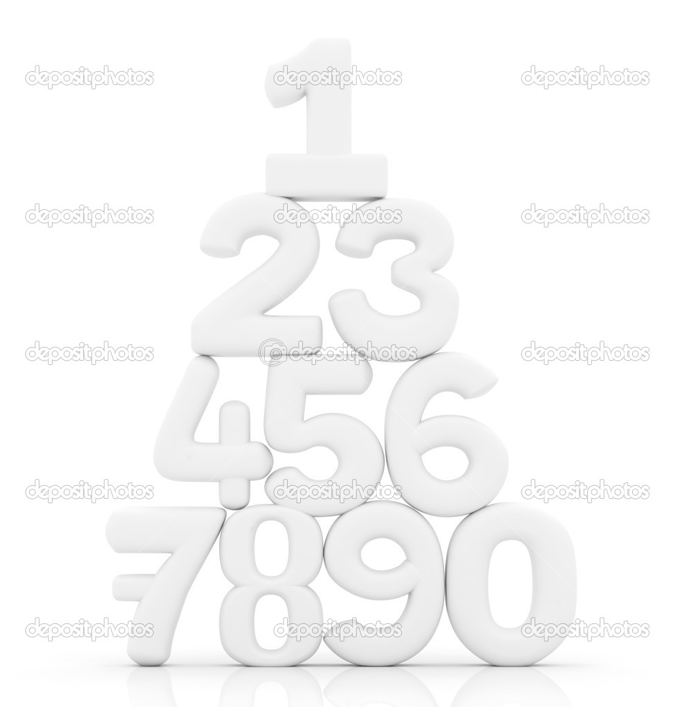 Numbers in pyramid isolated over a white background on illustration 3D — Stock Photo #7745058