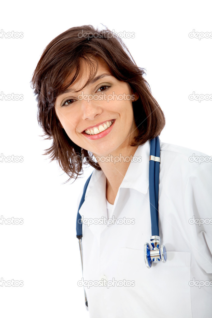 Friendly female doctor isolated over a white background — Stock Photo #7746642
