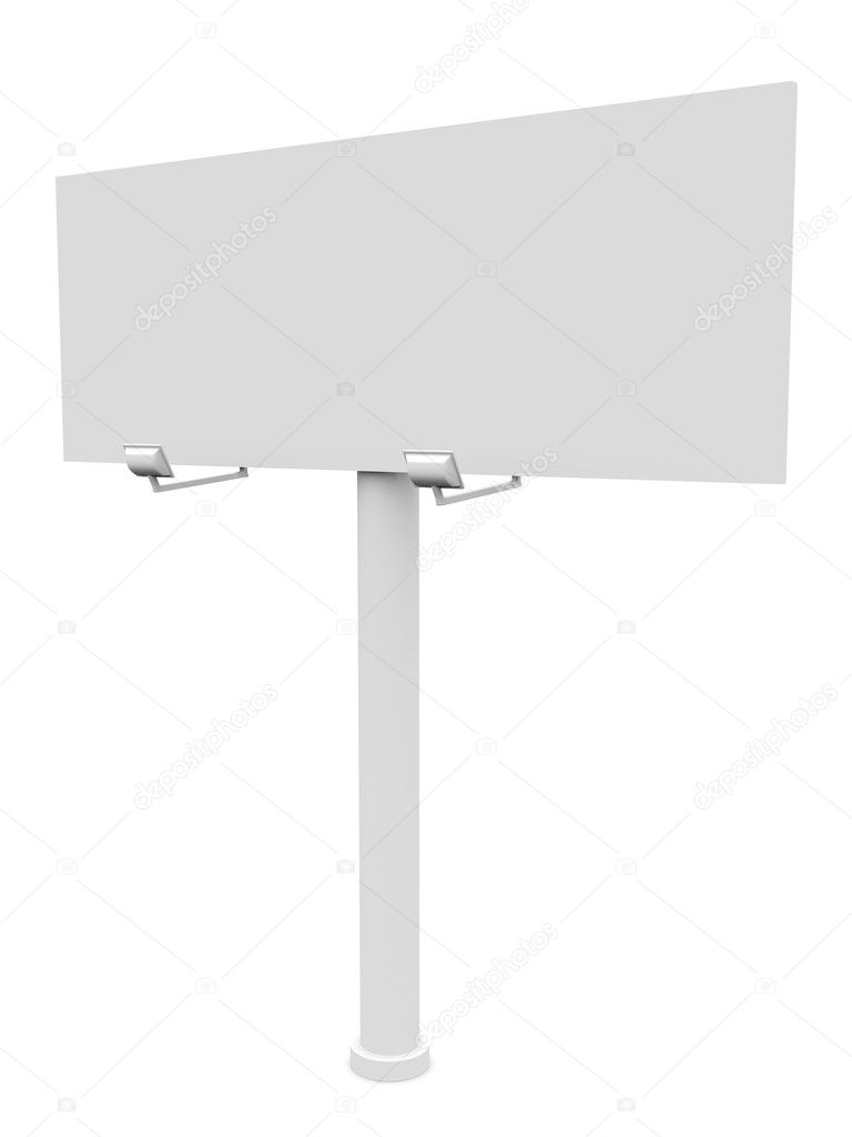 Big billboard with lights isolated over a white background — Stock Photo #7746730