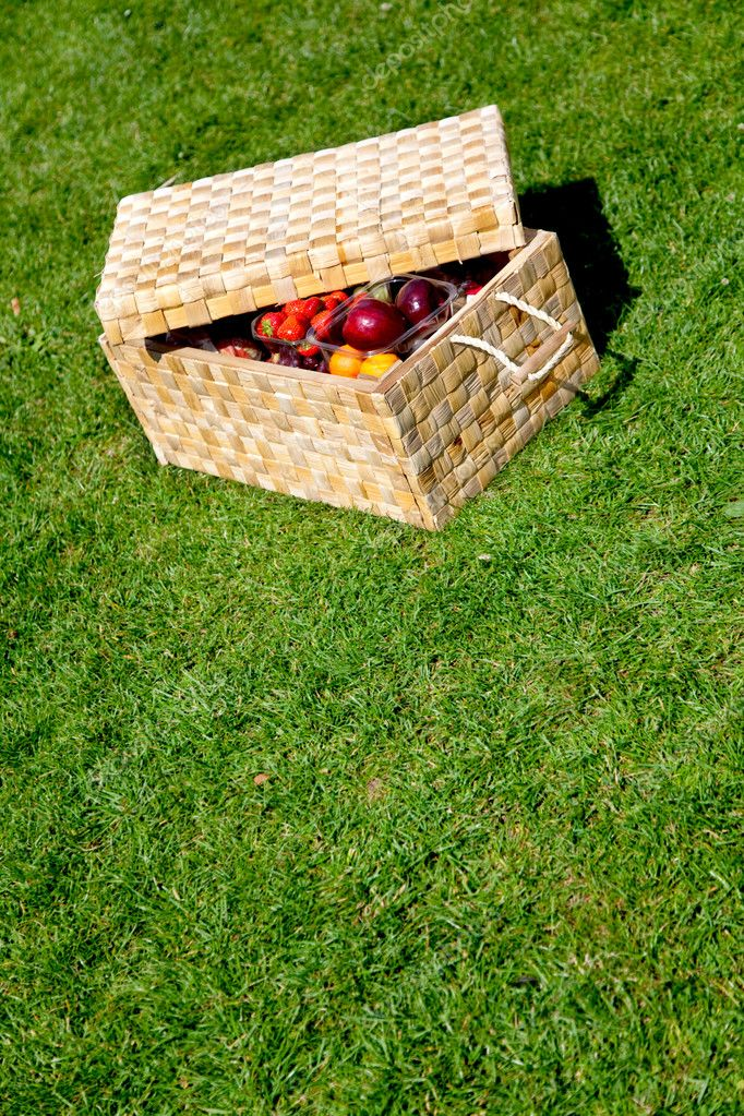 Picnic basket with fruits lying on grass outdoors  Stock Photo #7746980