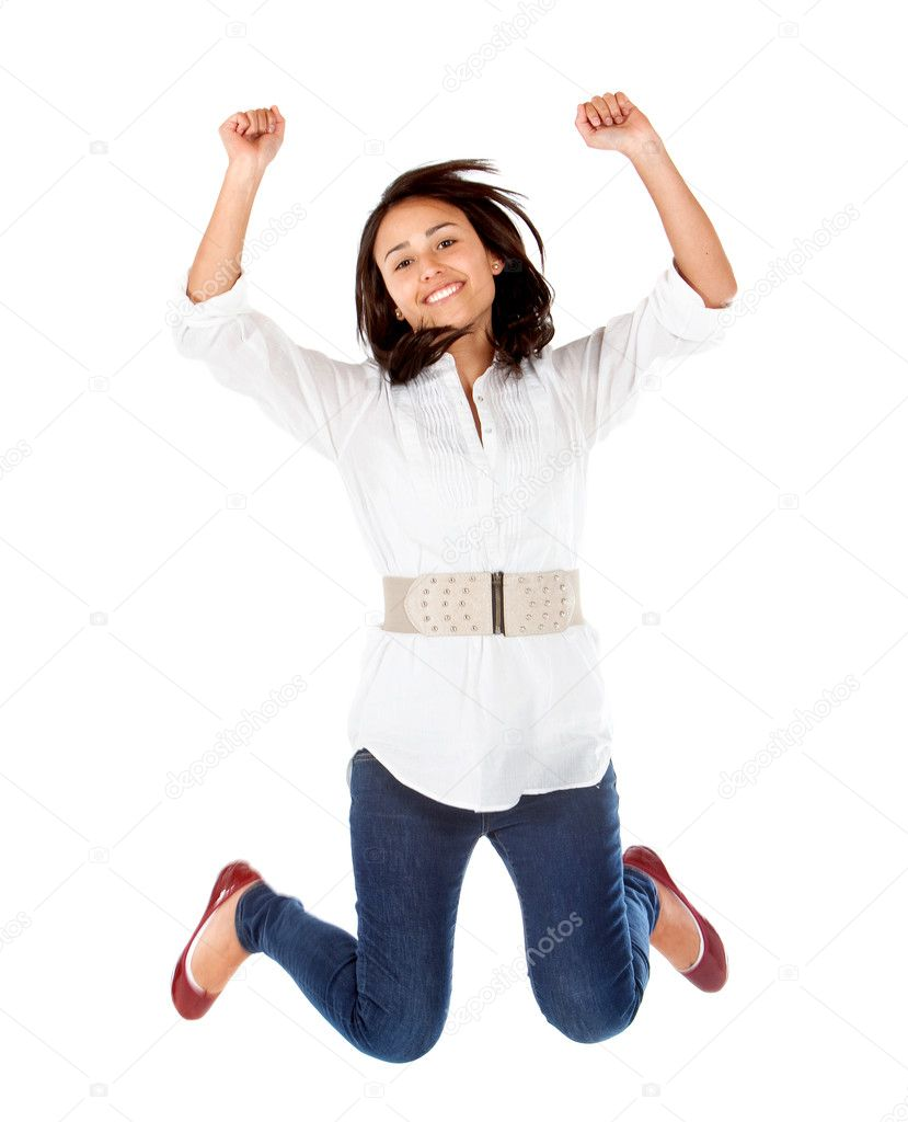 Happy woman jumping isolated over a white background — Stock Photo #7747179