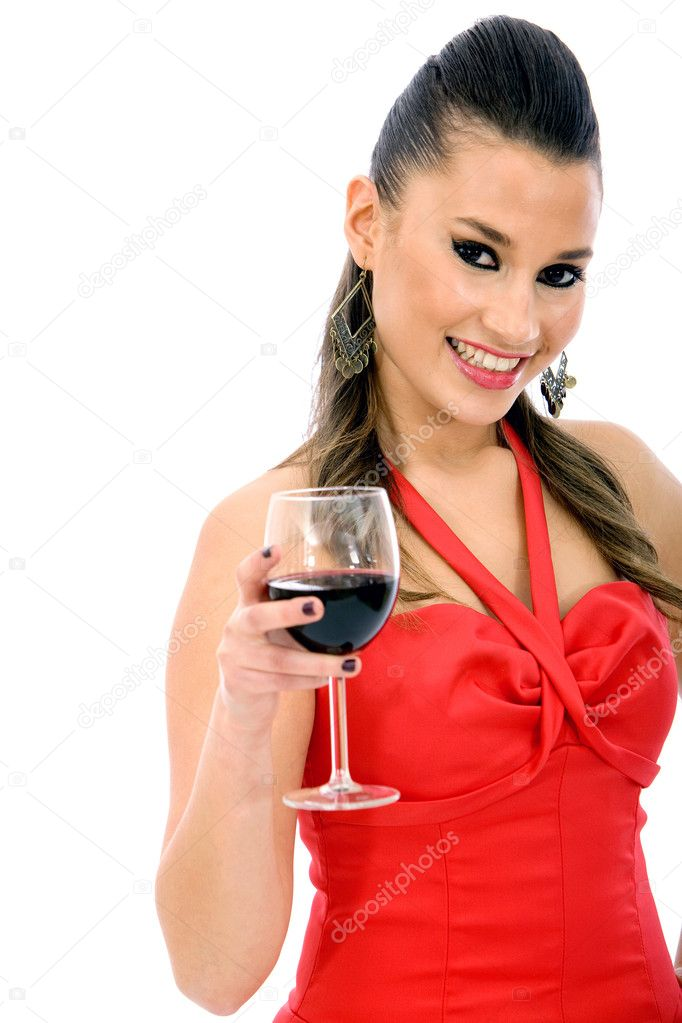 Woman with a glass of red wine isolated over a white background — Stock Photo #7747498