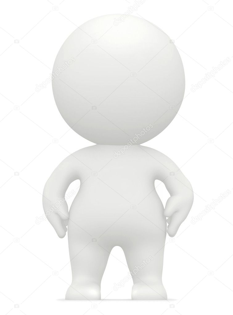 3D man figure with hands on his hips isolated over a white background  Stock Photo #7747668