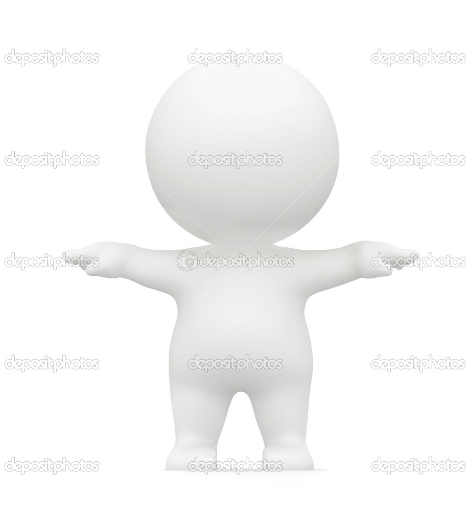 3D man figure with arms outstretched isolated over a white background — Stock Photo #7747669