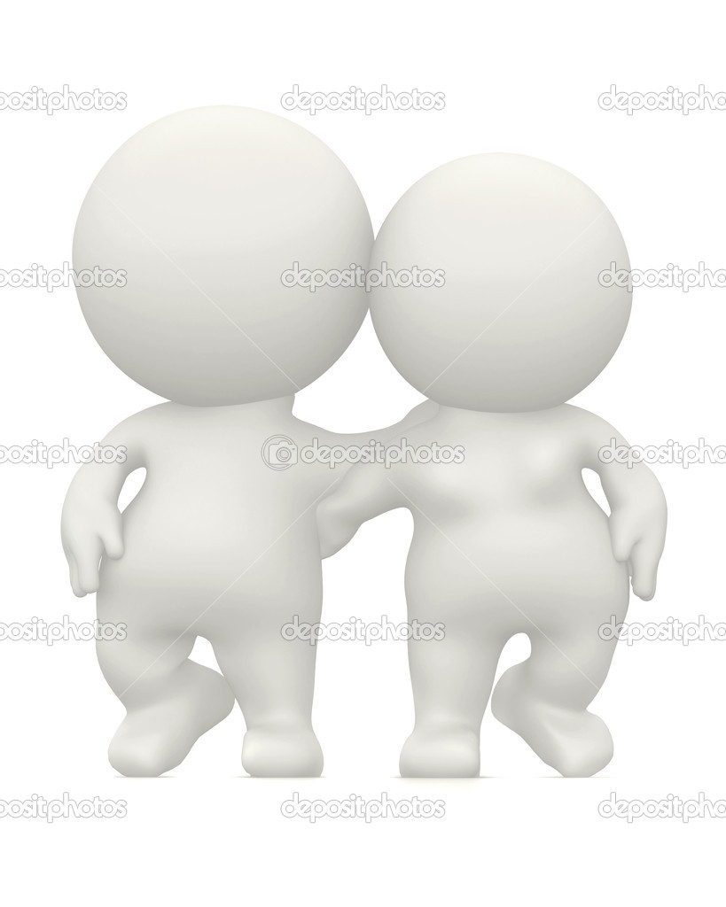 3D loving couple hugging isolated over a white background — Stock Photo #7747914