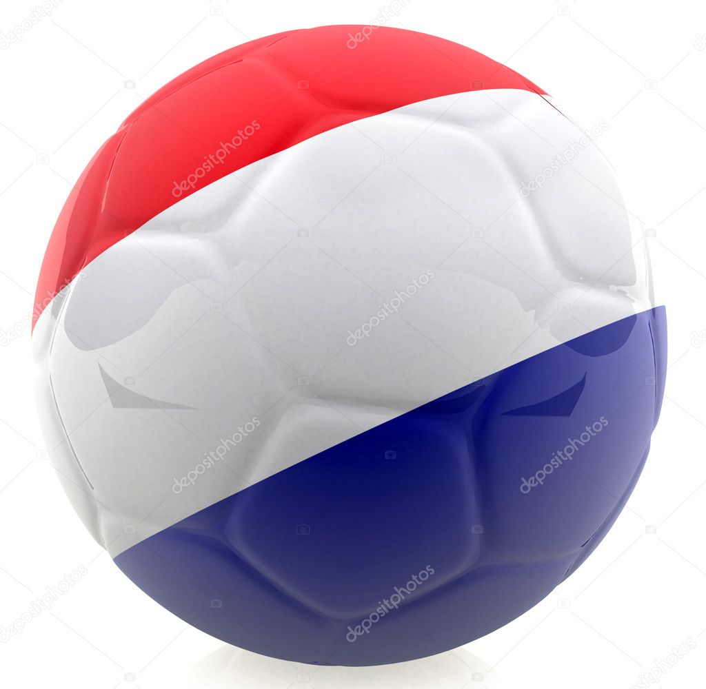 3D football with the flag of Holland - isolated over a white background — Stock Photo #7748272