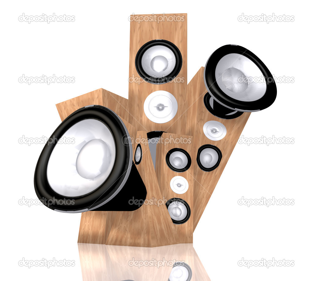 Abstract music illustration with speakers over white  Stock Photo #7748637