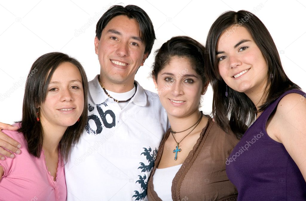 Casual young friends over a white background — Stock Photo #7748726