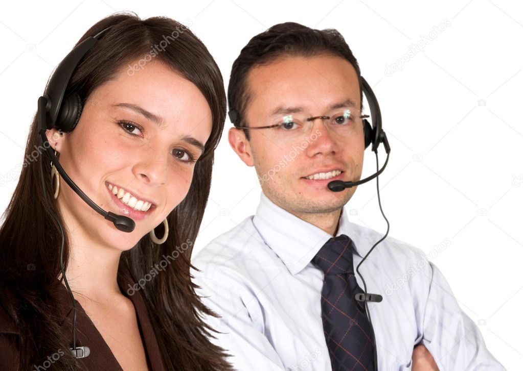 Business customer service team wearing headsets over white  Stock Photo #7748763