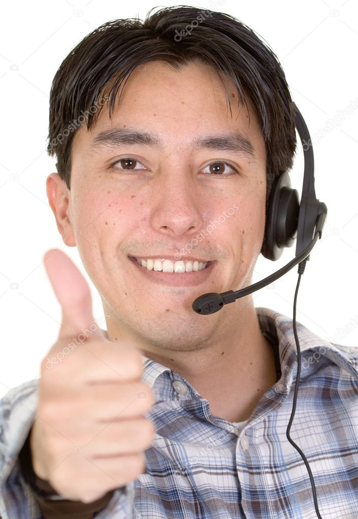 Business customer services thumbs up over a white background  Stock Photo #7748780