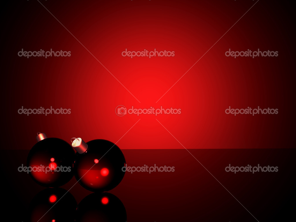 Christmas balls on a table top with red lighting — Stock Photo #7748876