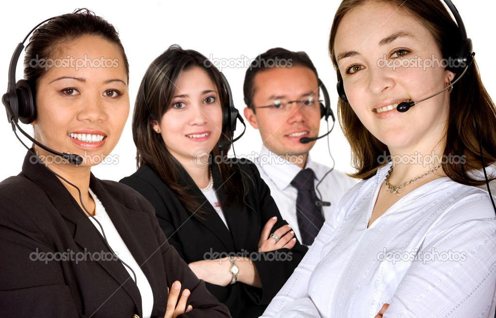Customer service team led by a caucasian business woman over a white background — Stock Photo #7748883