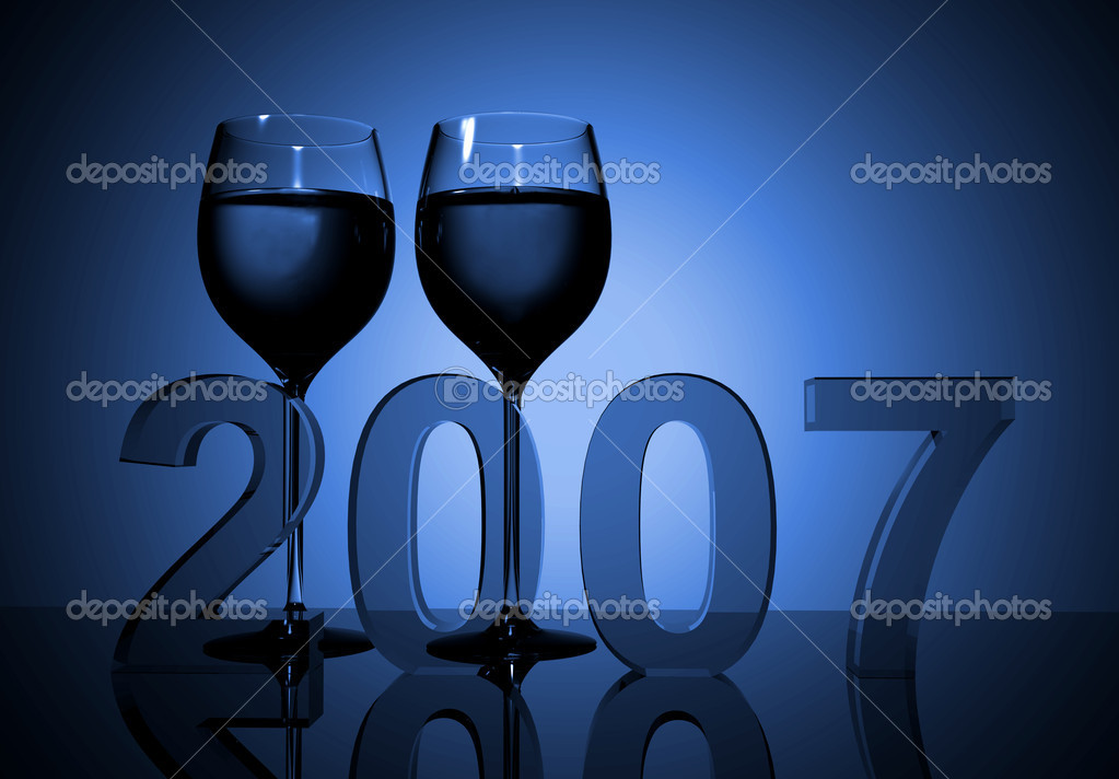 New year 2007 - wine glasses made in 3d — Stock Photo #7749130