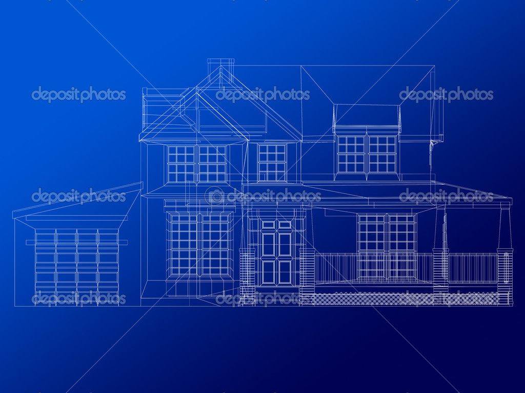 Architecture blueprint of a house stock photo andresr for Architecture blueprints