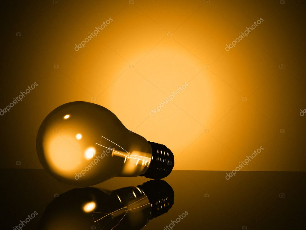 Light bulb in yellow tones made in 3d — Stock Photo #7749255