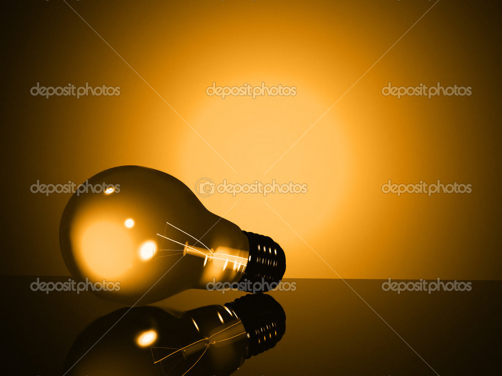 Light bulb in yellow tones made in 3d  Stock Photo #7749255