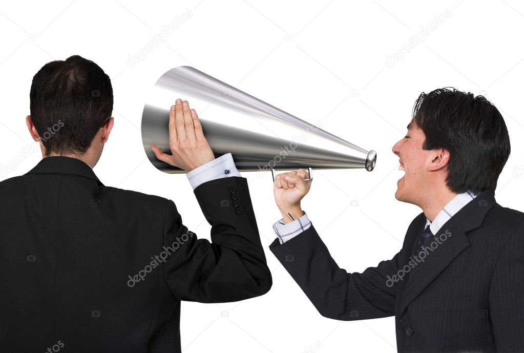 Business man giving an announcement and another one listening to it over white — Stock Photo #7749269