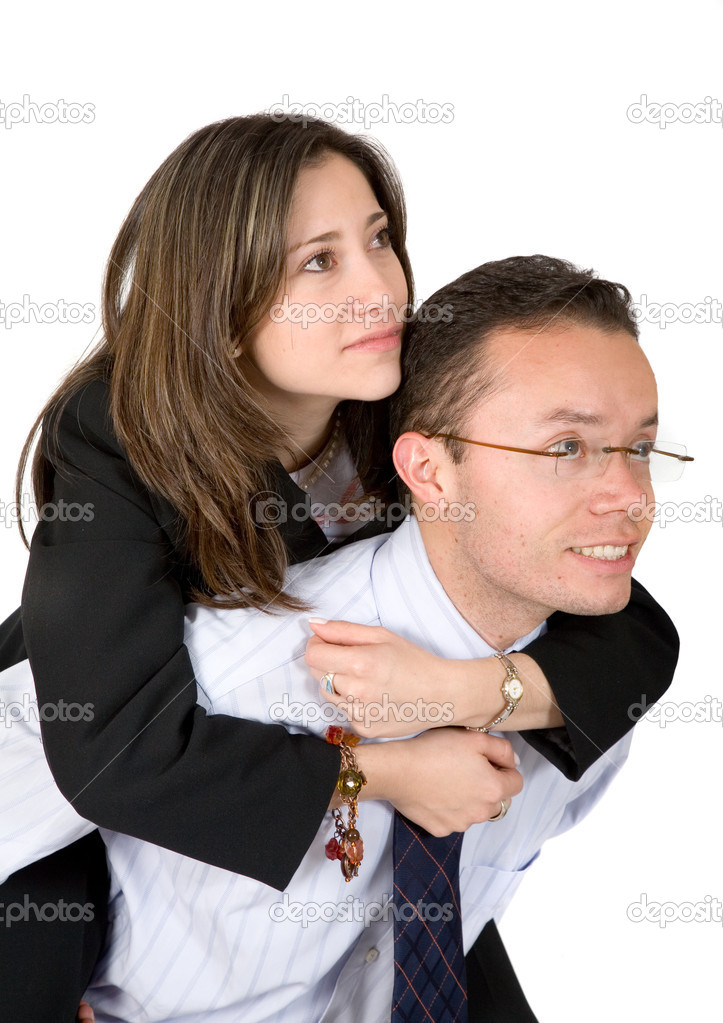 Business couples looking away one is carrying the other — Stock Photo #7749278