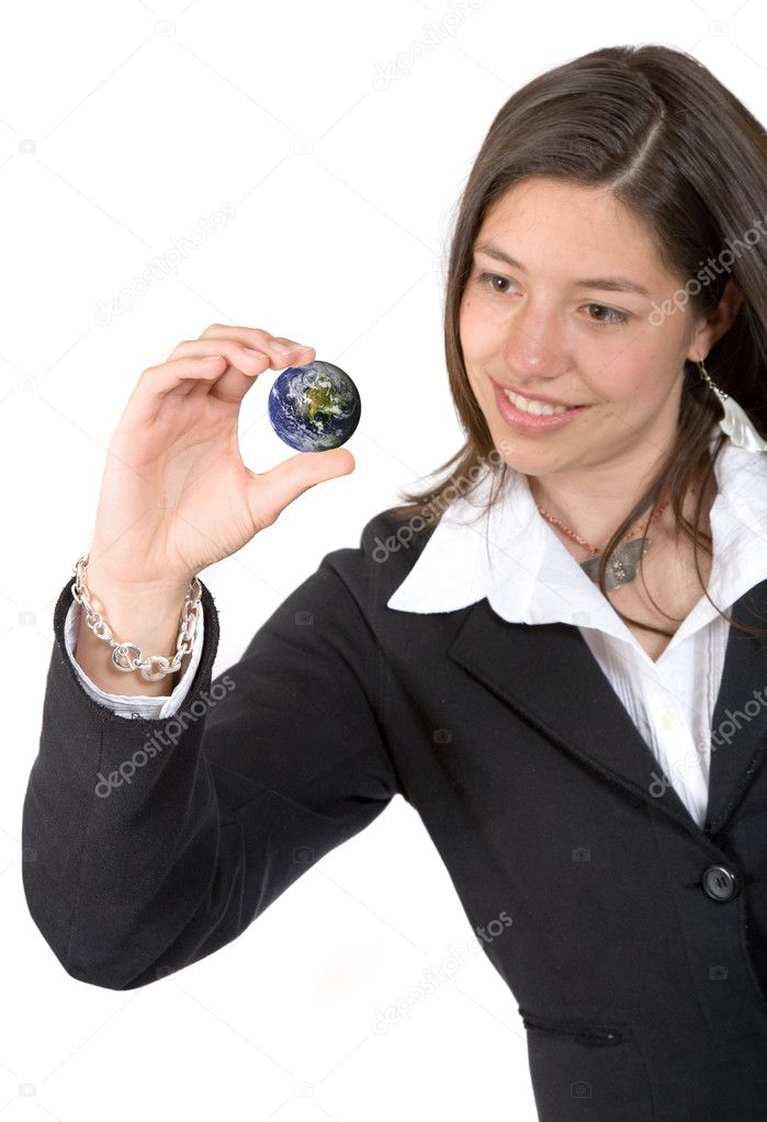 Business woman holding a small world over a white background — Stock Photo #7749432