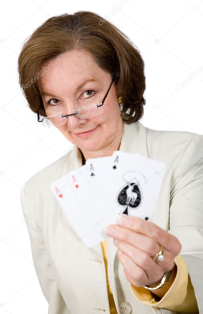 Business success - woman holding a winning hand with her cards over white — Stock Photo #7749453