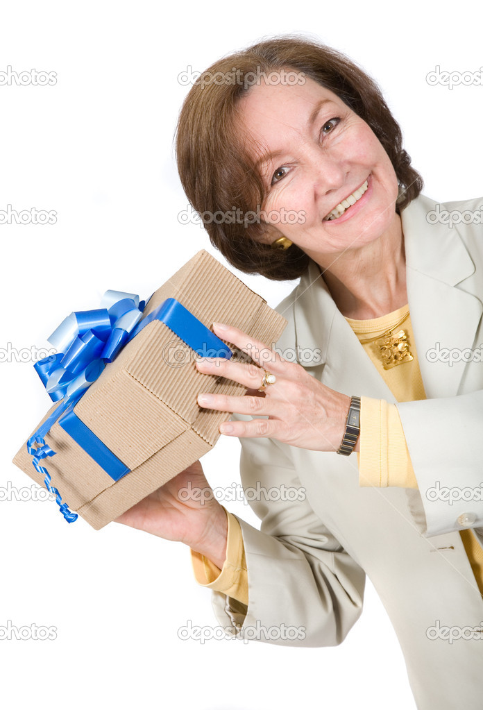 Business woman happy with gift over a white background — Foto de Stock   #7749503