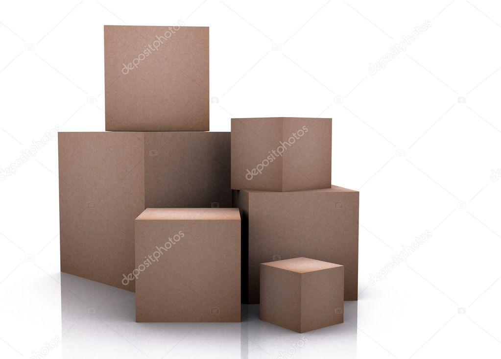 Cardboard boxes over a white background -  Stock Photo #7749520