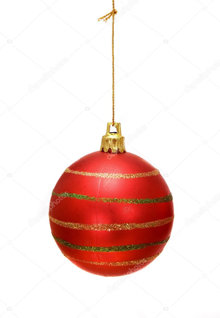 Christmas bauble in red over a white background — Стоковая фотография #7749572