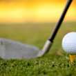 Golf ball and club — Stock Photo