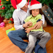 Father and son christmas portrait — Stock Photo
