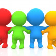 3D men - Colored group of friends — Stock Photo