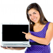 Casual girl displaying laptop — Foto Stock #7750368