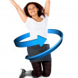 Casual woman jumping - Stock Photo