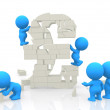 Stock Photo: 3D men assembling block pound
