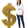 Girl with a dollar sign — Stock Photo #7750544