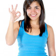 Girl making an ok sign — Stock Photo