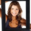 Woman with a frame - Stock Photo