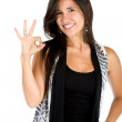 Woman making an ok sign - Stock Photo